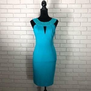 Trina Turk Mock-Neck Halter Crepe Dress w/ Keyhole